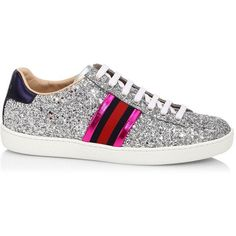 Gucci New Ace Glitter Sneakers ($650) ❤ liked on Polyvore featuring shoes, sneakers, gucci, gucci shoes, metallic sneakers, blue shoes, round cap and lace up sneakers