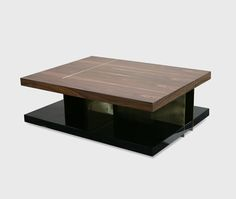 LALLAN center table - a rectangular and assymetric wood coffee table that combines palisander veneer, polished brass and antique brass | #interiordesign #livingroom cocktail table | See more at http://www.brabbu.com/en/casegoods/lallan-center-table.php