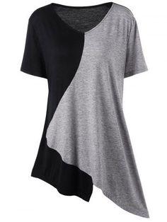 b9453b5fcf6 Lamolory Fashion Womens Plus Size Pullover V-Neck T-Shirt Trim Asymmetrical Patchwork  Top (Black