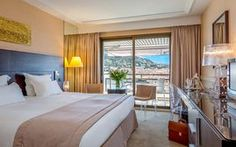 € 1 856 - Barrière Le Gray d'Albion Cannes 4* Cannes, Windows, Curtains, Grey, France, Furniture, Home Decor, Luxury Hotel Rooms, Beautiful Hotels