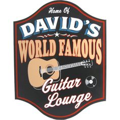World Famous Guitar Lounge Personalized Wooden Sign