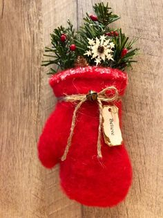 Primitive Winter Wonders Red Mitten Christmas Tree Ornament or image 4 Diy Christmas Ornaments, Felt Ornaments, Holiday Crafts, Christmas Wreaths, Christmas Decorations, Holiday Decor, Christmas Snowman, Primitive Christmas, Country Christmas