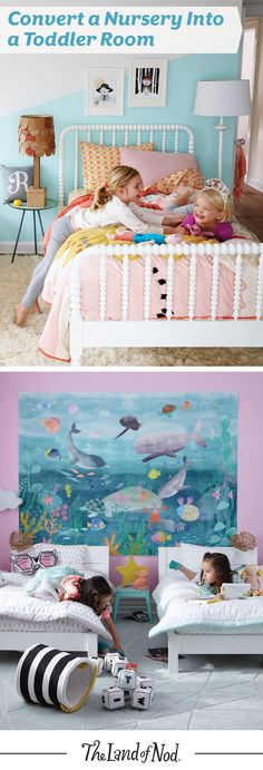 Has your baby outgrown the nursery? Converting the nursery into a toddler room is easy with these 4 steps. First, a toddler bed is the perfect transition. It's low to the ground and uses a standard crib mattress, too. Then, add toddler bedding—we love animal, floral and even woodland printed bedding. Third, repurpose the changing table area for toy storage or even a play area. Finally, make more floor space with storage baskets and play chairs.