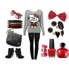 hello kitty nerd outfit, i absolutely adore it Michaelkor is on clearance sale, the world lowest price. --The best Christmas gift Hello Kitty Outfit, Hello Kitty Clothes, Nerd Fashion, Love Fashion, Womens Fashion, Grunge Fashion, Outfits For Teens, Girl Outfits, Cute Outfits