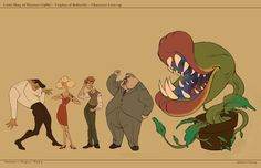 Little Shop of Horrors in Triplets of Belleville Style Final Character Concept, Character Art, Concept Art, Character Design, Little Shop Of Horrors, Theatre Nerds, Theater, Pineapple Images, Cartoon Background