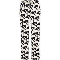 Black and cream geometric slouch trousers $64.00