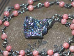 Iris Druzy Nugget Necklace Blue Purple Titanium Quartz Crystal