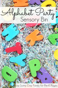 Alphabet Adventure: Alphabet Party Sensory Bin. A fun sensory and learning experience for preschoolers based on the book Alphabet Adventure!