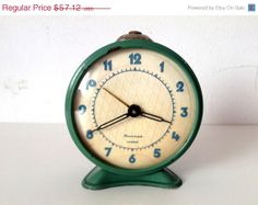 "ON SALE Soviet clock Russian clock Vintage clock Mechanical clock ""Jantar"" working -green clock with white clock face"