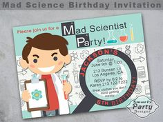 Personalized Girl Scientist Party Printable Thank You Cards Scientist Custom Thank You Cards 4x6 Thank You Card Science Party