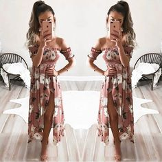 Floral Print Ruffle Trimmed Off-The-Shoulder Maxi Dress Featuring High Slit
