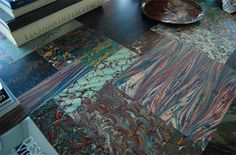 Marbled paper and epoxy table top