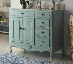 """38"""" Benton Collection  Distressed Light blue Daleville Bathroom Sink Vanity HF-837LB"""