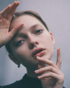 Close up - minimal make up and lashings of mascara
