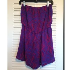Hot Pink & Purple Romper Tribal Print , Gently Worn. NO TRADES. Forever 21 Tops