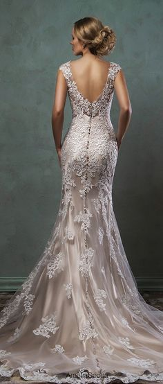 Amelia Sposa 2016 Wedding Dress - Cap sleeves v neck lace embroidery beautiful fit flare trumpet mermaid dress alba back view. Amelia Sposa Wedding Dress, 2016 Wedding Dresses, Wedding Attire, Wedding Dress Styles, Bridal Dresses, Wedding Gowns, Party Gowns, Dresses 2016, Ivory Wedding Dresses