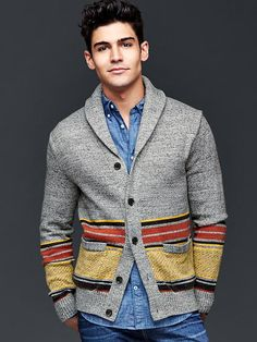 Blanket stripe shawlneck cardigan