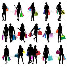Shopping Silhouettes ...  Retail Therapy, bag, buying, clothes, colorful, discount, fashion, female, girl, illustration, isolated, lady, man, person, purchase, purse, sale, sexy, shoes, shopper, shopping, shopping bag, silhouette, store, style, sweet, trendy, vector, white, women