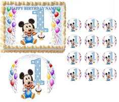BABY MICKEY MOUSE First Birthday Edible Cake Topper Frosting Sheet All Sizes #ProfessionalBakeryQuality