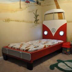 VW Bus Toddler Bed - made by my husband and I!