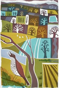 A new limited edition screenprint entitled Early Song by modern british artist Carry Akroyd. This print is part of a series of eight prints with each one unique. Signed and titled by the artist. Naive Art, Wildlife Art, Retro Art, Print Artist, Graphic Illustration, Graphic Art, Landscape Art, Art Images, Illustrations Posters