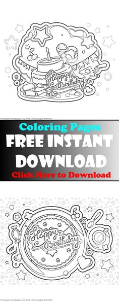 Free instant downloads birthday card coloring page,printable