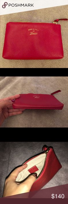 Gucci pouch Authentic Gucci Pebbled leather pouch in great used condition Gucci Bags Clutches & Wristlets