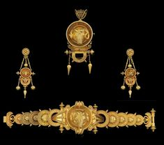 An antique gold parure, Rome, 1815-1870. Comprising a bracelet, pendant/brooch, and a pair of earrings. With Italian assay mark and Austrian import marks.