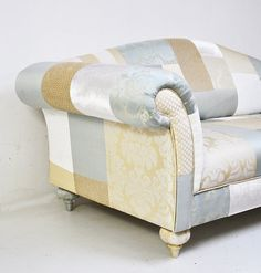 SALE blue beige white patchwork sofa by namedesignstudio on Etsy, $1850.00 {I have the HUGEST design boner for this upholstery!}