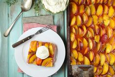 Peach Slab Pie Recipe is a real crowd pleasing dessert for all of your summer get togethers! From MissintheKitchen