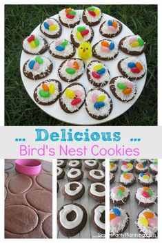Birds nest cookies are the ultimate Easter treats for kids. This is a recipe that will come out every Easter as the kids absolutely love them. With a chocolate cookie base and a coconut topping, the kids will be begging you for more. They are fun treats for Easter which are super simple to make. They tick all the box's. Cute Easter Desserts, Easter Treats, Easter Recipes, Jelly Beans, Best Homemade Cookie Recipe, Coconut Icing, Cupcake Cookies, Cupcakes, Treats