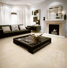 Natural stone flooring lends unparalleled grace to the interiors. That is why it is one of the most popular flooring materials. Italian Marble Flooring, Marble House, Natural Stone Flooring, Beige Marble, Living Room Flooring, Beautiful Living Rooms, Floor Decor, Dream Decor, Home Bedroom