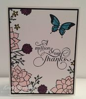 Make your own patterned paper!  The flowers on this card look like they were printed but they're stamps from the Nature's Perfection Stamp Set.