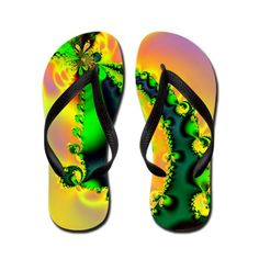 Colorful Swirls Flip Flops #flipflops #fractal #art