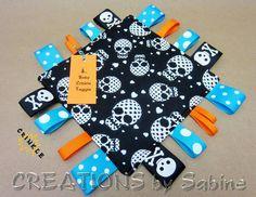 Baby Crinkle Taggie Toy, Ribbon Sensory, Tag Blanket, Boy, Black, White, Blue, Turquoise, Orange, Skulls, Hearts PADDED