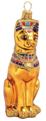 Egyptian Cat Polish Mouth Blown Glass Christmas Ornament Egypt Decoration