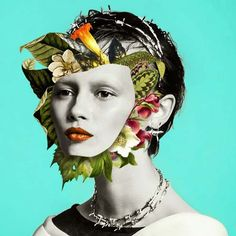 Les Collages colorés de Visages fleuris de Marcelo Monreal (13)