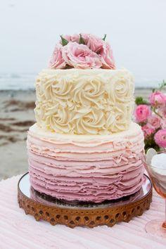 Beach Wedding Ombre Rose Cake, Vintage Wedding Cake Ideas, Beach Wedding Ideas, Party Dessert Table