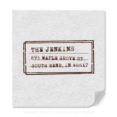 Personalized Address Rubber Stamp In Vintage Typewriter Labeling Style Available In Self-Inking Stamp Or Traditional Wood Mounted