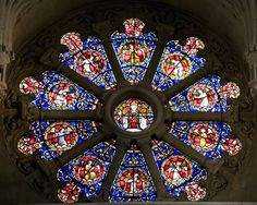 Hello, This hub is going to be about Christ Church Oxford and the Magdalen College Chapel , I will be trying to explain some of the Stained Glass stories as I see them. There are within both the church and chapel many interesting windows that. Stained Glass Art, Stained Glass Windows, Mosaic Glass, Christ Church Oxford, Symmetry Design, Rose Window, Window Design, Design Reference, Around The Worlds