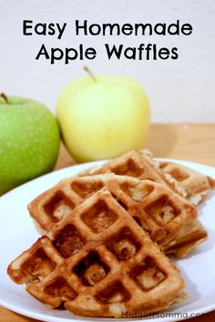 double this recipe Homemade apple waffles: yum!, these are really good, the only change I made was to use whole wheat pastry flour. Topped w/cinnamon apple syrup. Breakfast Waffle Recipes, Waffle Maker Recipes, Breakfast Waffles, Mexican Breakfast, Pancake Recipes, Breakfast Sandwiches, Breakfast Bowls, Brunch Recipes, Breakfast Ideas