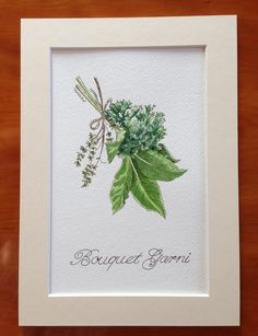 This item has now been reserved for Calfuray and is no longer on general sale. If you like 'Bouquet Garni' and would like a similar painting, please let me know. A Bouquet Garni is a bundle of herbs that is added to casseroles, stocks, sauce. Botanical Kitchen, Botanical Illustration, Botanical Prints, Love Painting, Watercolour Painting, Herb Bouquet, Bouquet Tattoo, Cover Up Tattoos, Pictures To Paint