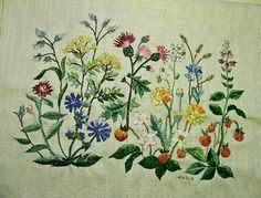 Swedish summer flowers embroidered.