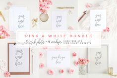 Pink & White Bundle - Mockups - Product Mockups