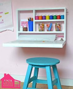 DIY organizing idea: Fold-down desk for children's rooms