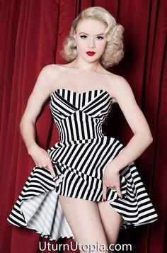 Black & Striped Halter Pin Up Dress /Rockabilly/Vintage Style | im ...