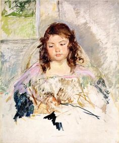 Sketch for 'Francoise in a Round Backed Chair, Reading' or 'A Girl in Pink' - Mary Cassatt, 1908