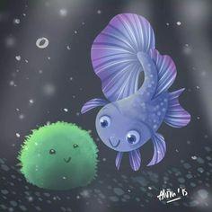 Betta and marimo Moss ball Beta Fish Drawing, Really Cool Drawings, Marimo Moss Ball, Betta Tank, Fish Care, Pet Fish, Aquarium Fish, Sea Creatures, Cute Art