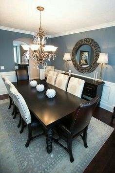 Turquoise Room Ideas - Turquoise it can be vibrant and strong, it's also calming and relaxing.Here are of the very best turquoise room interior decoration ideas. Dining Room Design, Dining Room Decor, Dining Room Colors, Beautiful Dining Rooms, Room Remodeling, Dining Room Remodel, Dining Room Blue, Home Decor, Dinning Room Decor