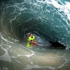 Body boarding the barrel